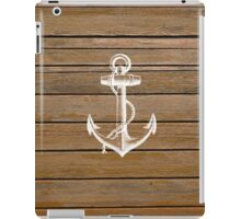White anchor vintage rustic brown wood  iPad Case/Skin