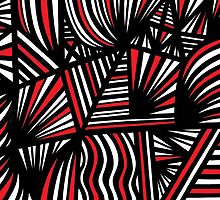 Hossack Abstract Expression Red White Black by martygraw