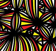 Mongeon Abstract Expression Yellow Red Black by martygraw
