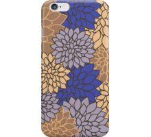 Vintage modern navy blue brown floral pattern iPhone Case/Skin