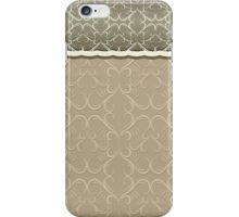 Vintage chic green brown floral damask pattern iPhone Case/Skin