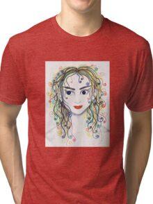 Rainbow haired elfette  Tri-blend T-Shirt