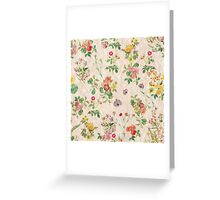 Vintage chic yellow pink cute floral pattern  Greeting Card