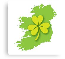 IRELAND map with a shamrock Canvas Print