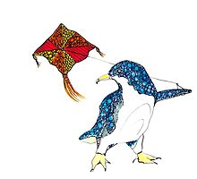 Penguin with a kite by ArtbyGrace