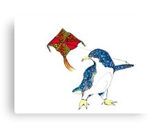 Penguin with a kite Canvas Print
