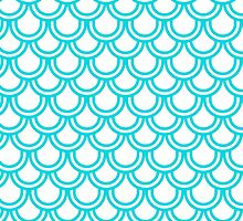 Modern Turquoise White Retro Scallop Pattern by Maria Fernandes
