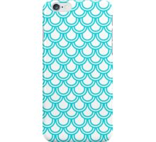 Modern Turquoise White Retro Scallop Pattern iPhone Case/Skin