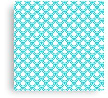 Modern Turquoise White Retro Scallop Pattern Canvas Print