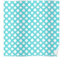 Modern Turquoise White Retro Scallop Pattern Poster