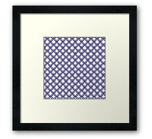 Girly Modern Blue White Retro Scallop Pattern Framed Print