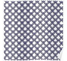 Girly Modern Blue White Retro Scallop Pattern Poster