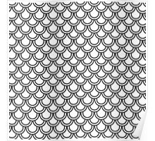 Modern Black White Retro Scallop Pattern  Poster