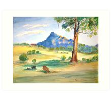 Mt Barney View with Cows Art Print