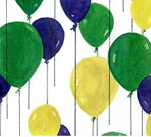 Party Balloons Watercolour Painting - Balloon Series by Heatherian