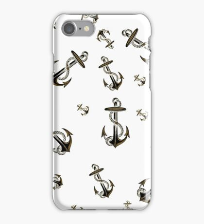 Cool Trendy Black Gold Glitter Nautical Anchor iPhone Case/Skin
