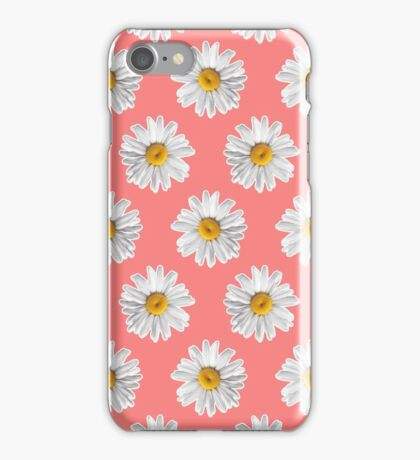 Daisies & Peaches - Daisy Pattern on Pink iPhone Case/Skin