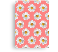 Daisies & Peaches - Daisy Pattern on Pink Canvas Print