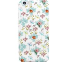 Summer Pink Teal Watercolor Tropical Flowers iPhone Case/Skin
