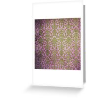 Vintage Pink Brown Grunge Floral Damask Pattern Greeting Card