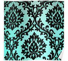 Chic Modern Black Teal Floral Damask Pattern  Poster