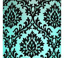 Chic Modern Black Teal Floral Damask Pattern  Photographic Print