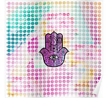Pink watercolor Polka Dots Hamsa Hand Of Fatima Poster
