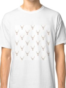 Modern Pink White Vintage Floral Deer Head  Classic T-Shirt