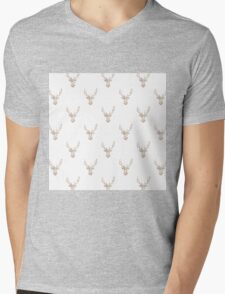 Modern Pink White Vintage Floral Deer Head  Mens V-Neck T-Shirt