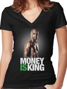 Floyd Mayweather, money is king Women's Fitted V-Neck T-Shirt