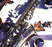 """Symphonic Manifestation"" Musical Instruments Watercolor by Paul Jackson"