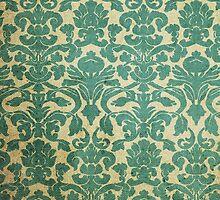 Vintage Green White Floral Damask Pattern by Maria Fernandes