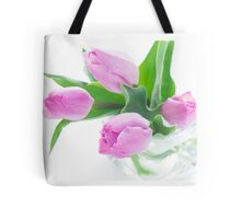 Pink tulips bouquet in vase isolated on white background Tote Bag