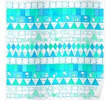 Abstract Teal Aqua Aztec Chevron Tribal Pattern Poster