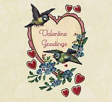 Vintage Birds Red Hearts Floral Love Valentines by Maria Fernandes
