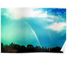white rainbow and cloudburst Poster