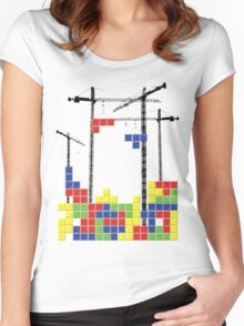 Tetris Skyline Women's Fitted Scoop T-Shirt