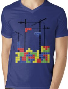Tetris Skyline Mens V-Neck T-Shirt