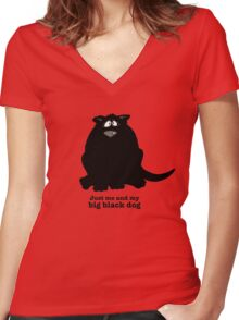 Big Black Dog Women's Fitted V-Neck T-Shirt