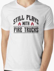 Still plays with fire trucks Mens V-Neck T-Shirt