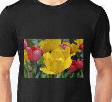 Pink and Yellow Garden Tulips Unisex T-Shirt