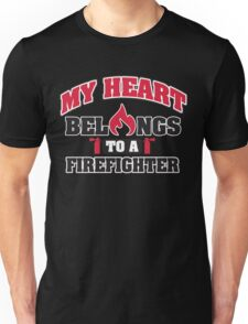 My heart belongs to a firefighter Unisex T-Shirt