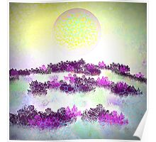 Yellow Moon and Purple Fields Poster