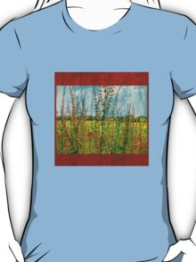 """""""Doing the Happy Dance"""" Scarf~Textured Red Borders T-Shirt"""