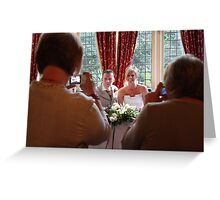 Photographing the bride and groom being photographed. Greeting Card