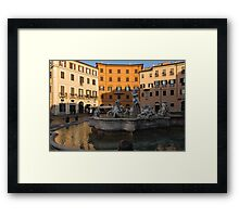 Early Morning Warmth - Neptune Fountain on Piazza Navona in Rome, Italy Framed Print