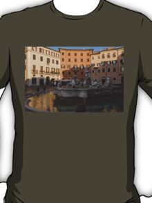 Early Morning Warmth - Neptune Fountain on Piazza Navona in Rome, Italy T-Shirt