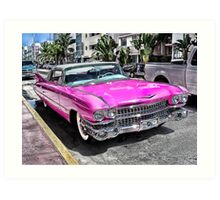 Pink Cadillac - Collins Ave - Miami Art Print