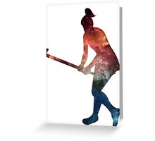Galactic Field Hockey Girl Greeting Card