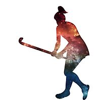 Galactic Field Hockey Girl Photographic Print